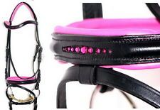 FSS GLISTEN Curve CRYSTAL ROSE BLING HOT PINK German Comfort PATENT GLOSS Bridle