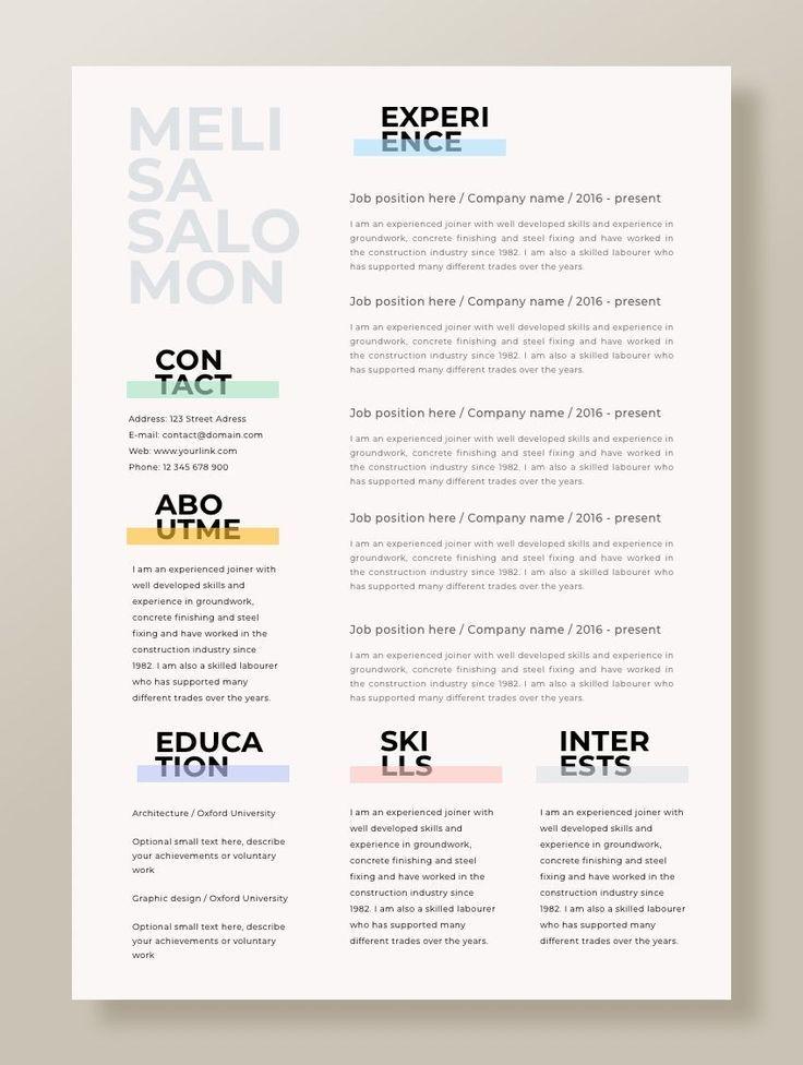 "Resume Template | Resume CV Template | CV design | Curriculum Vitae | CV Instant download Resume | Resume Templates | cv | ""Cape Town"""