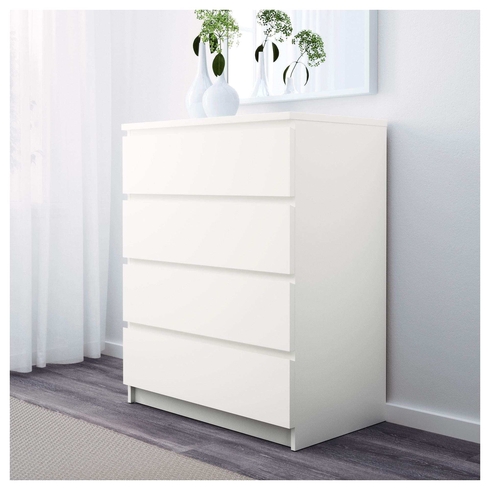 Ikea Kommode Weiß Hochglanz Malm Chest Of 4 Drawers White 80 X 100 Cm New Home Misc