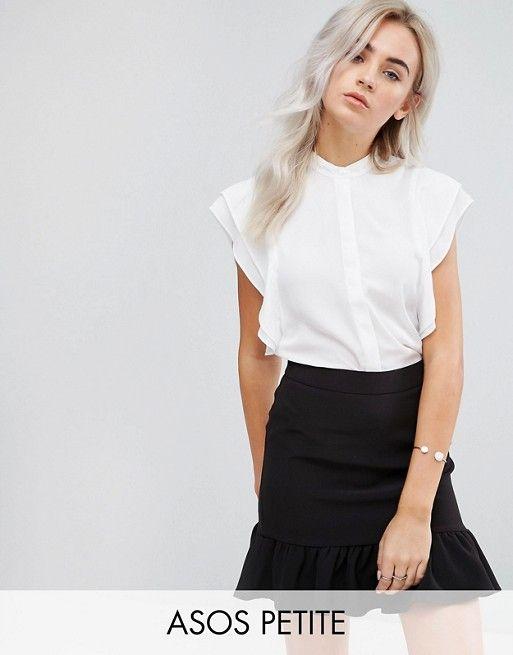 DESIGN Petite blouse with frill shoulder | affordable ...