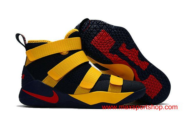eb4be6c3d3b Nike LeBron Soldier XI Dark Blue Yellow Red Men s Basketball Shoes  76.00
