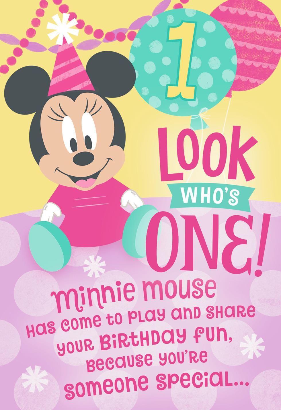 Disney Minnie Mouse Honeycomb Pop Up 1st Birthday Card 1st
