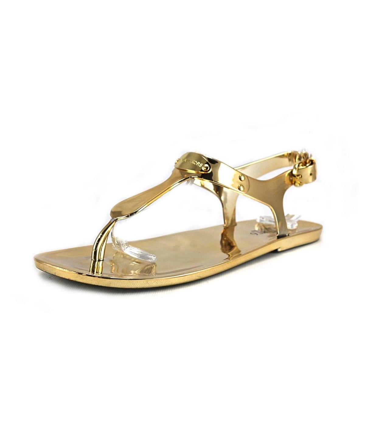 c5971afbbebed7 MICHAEL MICHAEL KORS Michael Michael Kors Mk Plate Jelly Women Open Toe  Synthetic Gold Thong Sandal .  michaelmichaelkors  shoes  sandals
