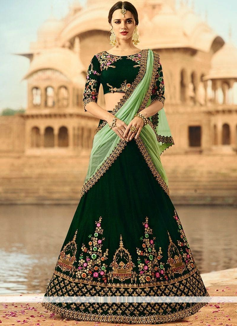 2eecf3f77b Fabric : Taffeta Satin Be the prettiest bride in this Finished silk bottle  green bridal lehenga embellished with heavy work. Lehnga Fabric: Velvet ...