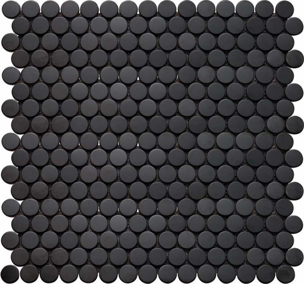 Penny Round Mosaic Tile Black Matte Penny Tiles Bathroom