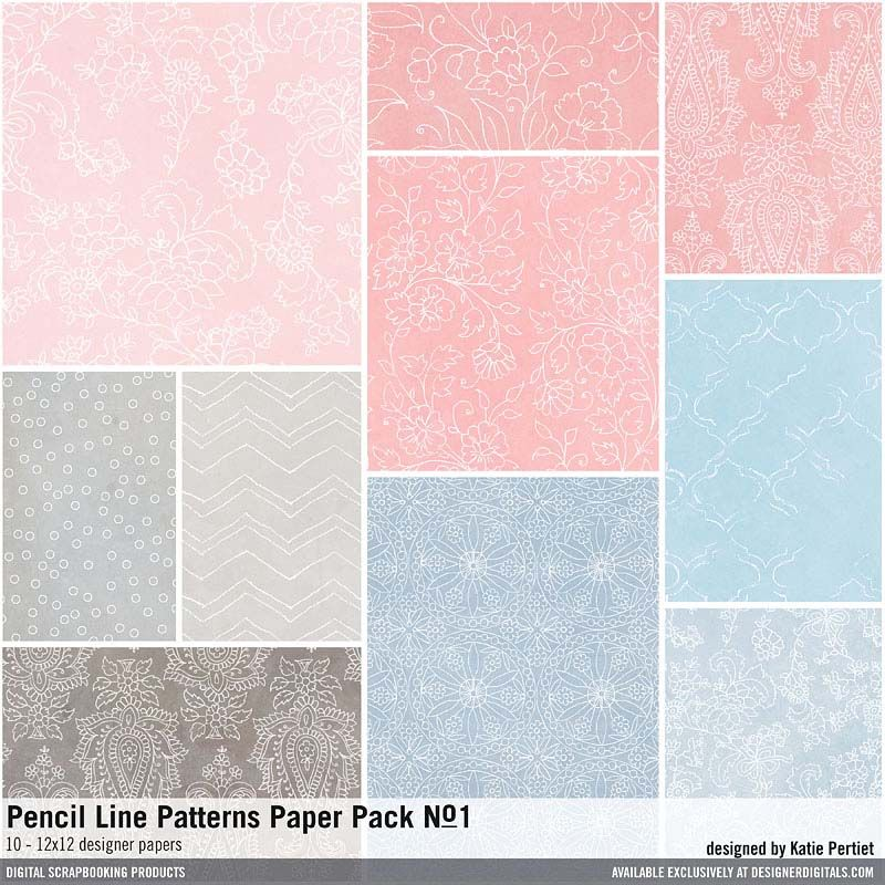 Pencil Line Patterns Paper Pack No. 01 handdrawn pencil patterns in papers for scrapbooking and more #designerdigitals