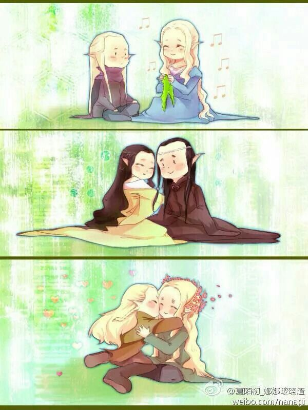 Haldir and Galadriel, Arwen and Elrond, and Legolas and Thranduil <3