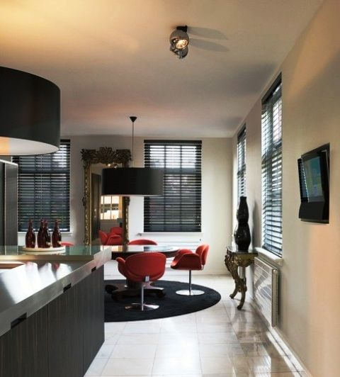 Modern Kitchen Blinds black wooden venetian blinds make an ideal window covering for a