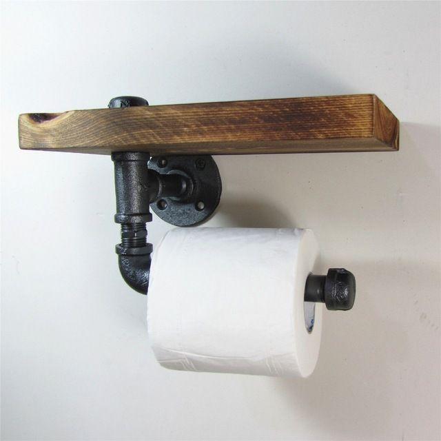 Industriellen Stil Eisen Rohr Toilettenpapierhalter Roller Mit Holz Regal Papierhalter Toilettenpapierhalterung Industrieller Stil