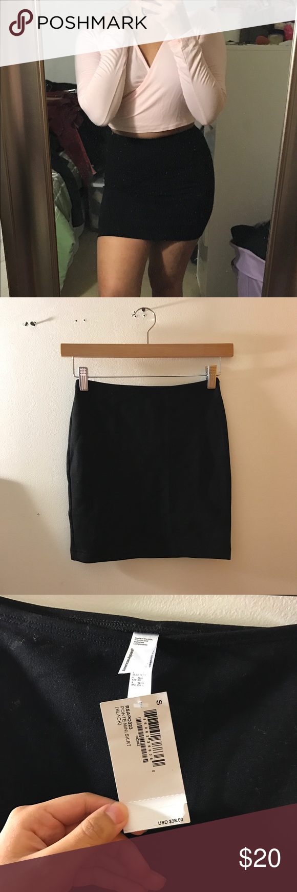 8582edfae AA Black Mini Skirt Black Ponte Mini Skirt from American Apparel! Size  small and is true to size, in great condition and new with tags.