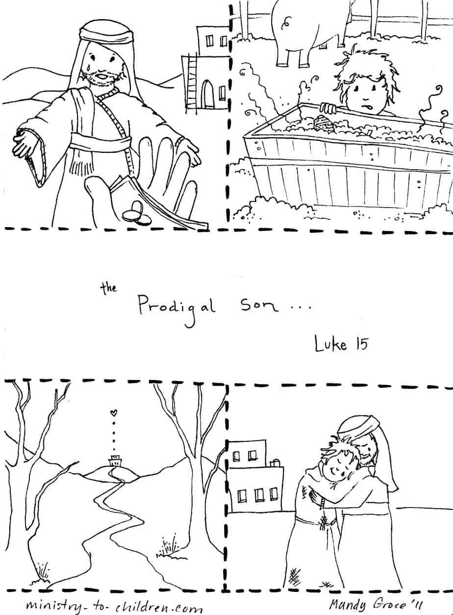 Prodigal Son Coloring Page Printable Pdf With Images Bible