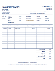 commercial invoice download at httpwwwexcelinvoicetemplatescom commercial