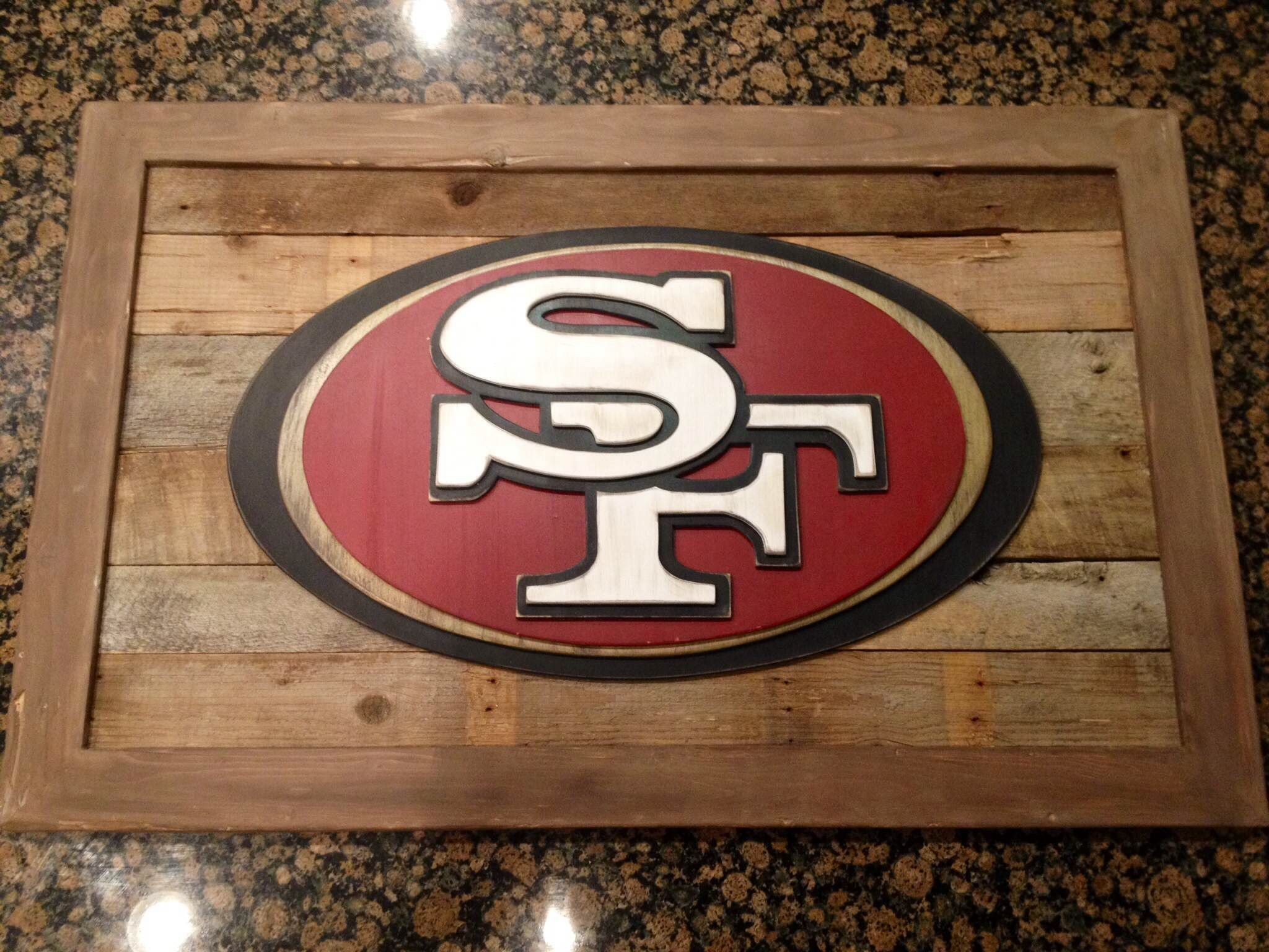 3 D Hand Jigged Hand Painted Wood Sign San Francisco 49ers 3 D Wood Sign Custom Sports Sign