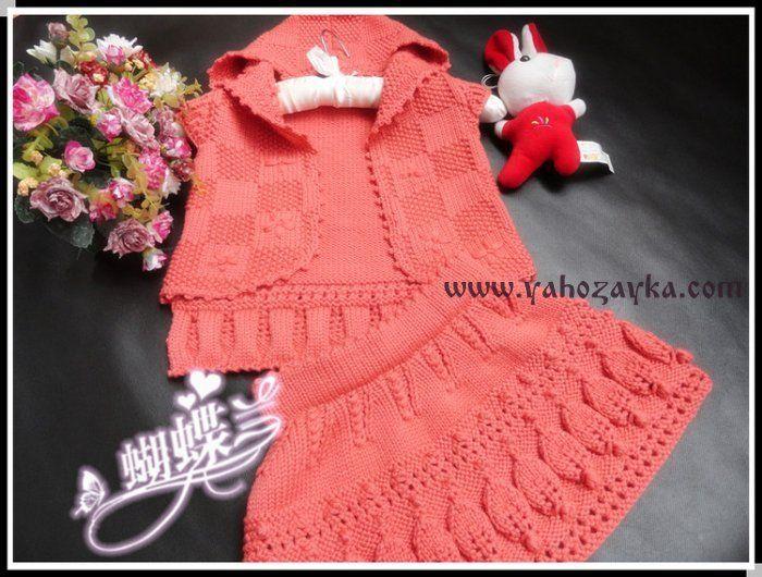 детский комплект спицами жилет и юбка вязаный спицами костюм на