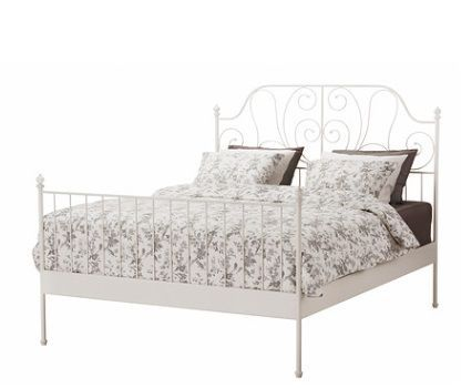 Ikea Metal Double Bed Frame White Luroy In Home Furniture Diy