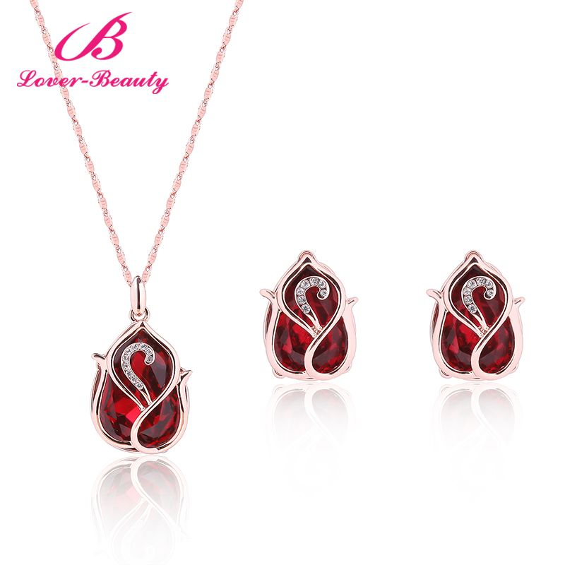 Lover Beauty Rose Gold Color Pure Clear Jewelry Sets Top Quality