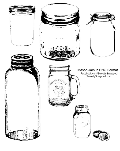 Sweetly Scrapped Free Printable And Digi Mason Jars Mason Jar Clip Art Mason Jar Printables Mason Jar Cards