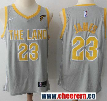 Men s Nike Cleveland Cavaliers  23 LeBron James Gray NBA Swingman City  Edition Jersey 6c56ff4ca
