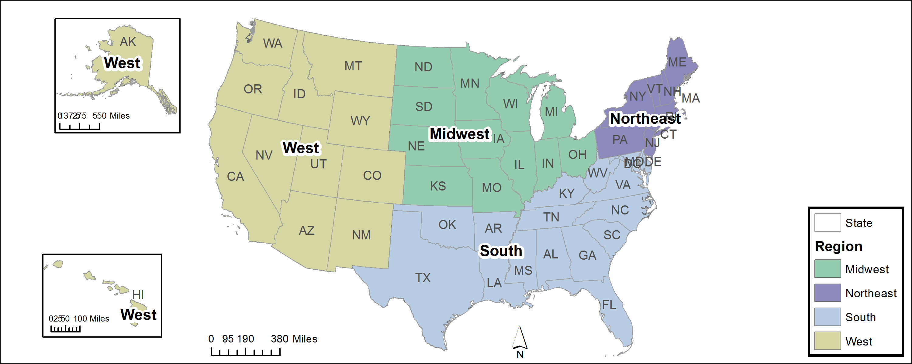 these is the regions of the US the west south midwest and the