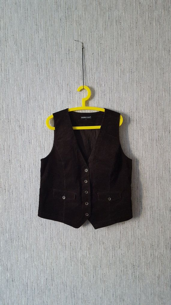 Women's Vest Brown corduroy Waistcoat vintage by TinutesCreations