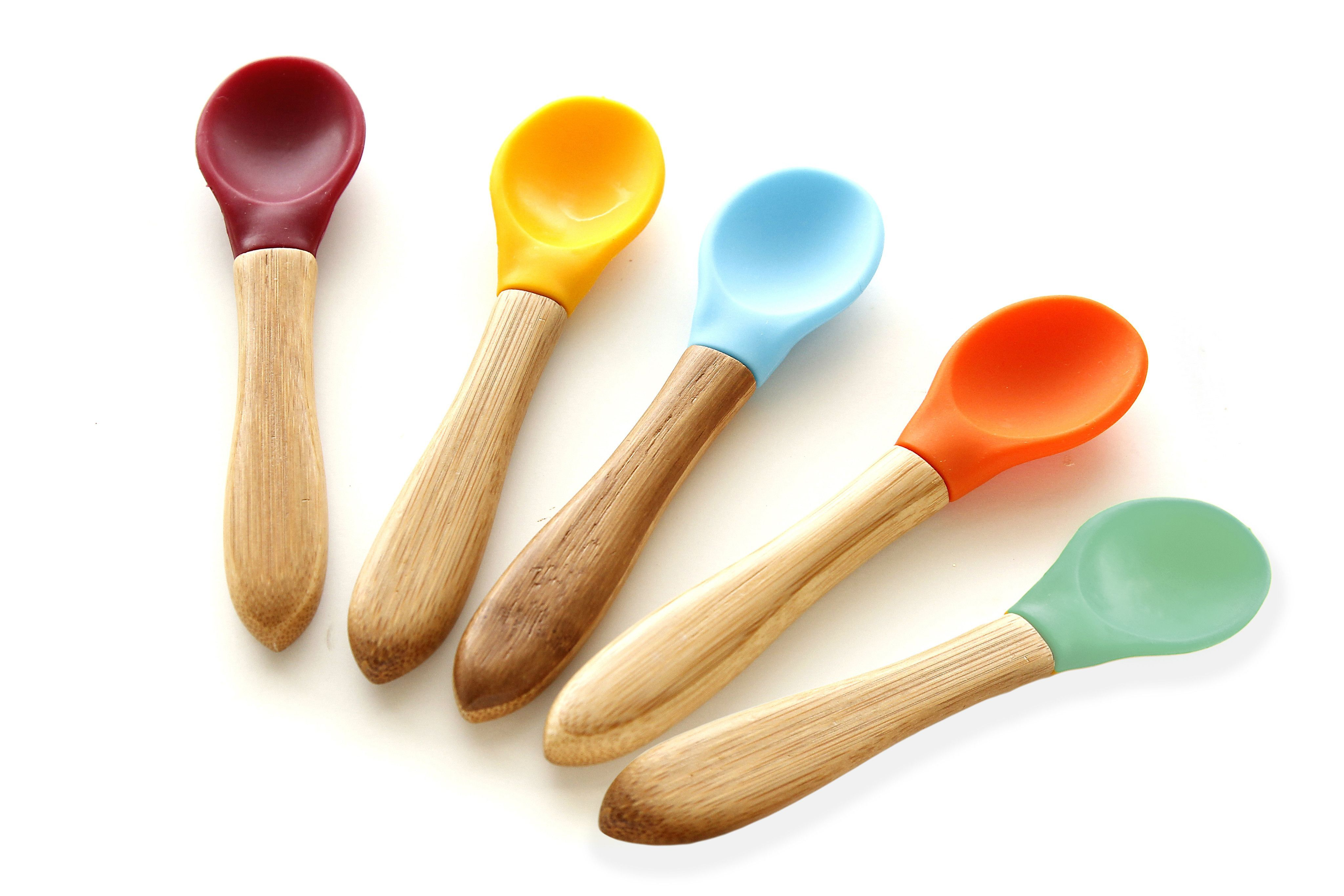 Silicone Baby Feeding Spoon Weaning Soft Round Tip Long Handle Lovely Tableware
