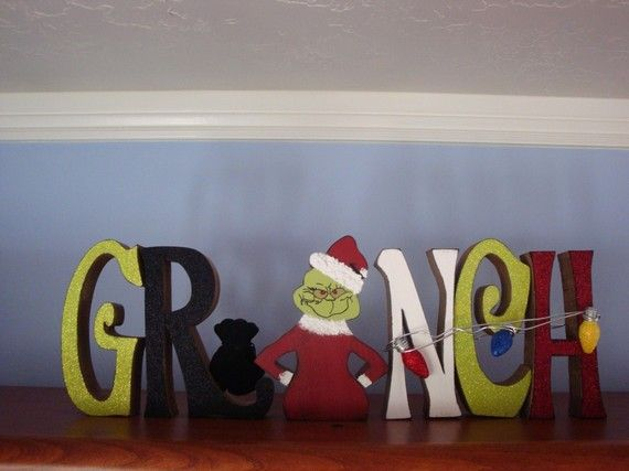 Christmas Home Decor Grinch Wood Letters By Thepatternbag