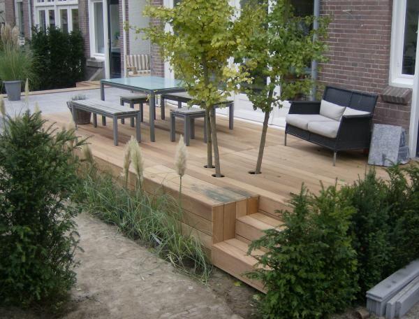 Verhoogd terras aanleggen google zoeken terras trap for Trap tuin aanleggen
