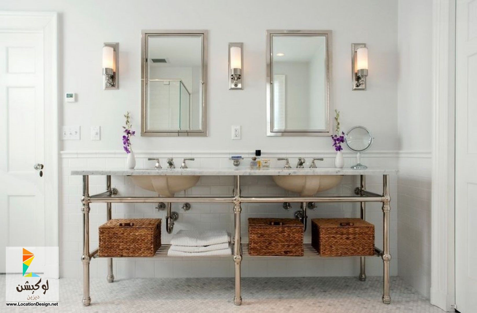 احواض حمامات مودرن 2015 Double Vanity Bathroom Traditional Bathroom Bathroom Sconces