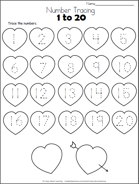 valentine hearts math worksheet trace numbers to 20 school valentines day numbers. Black Bedroom Furniture Sets. Home Design Ideas