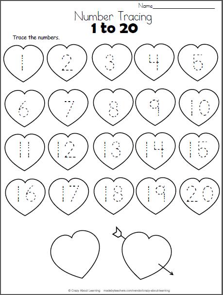 Valentine Hearts Math Worksheet