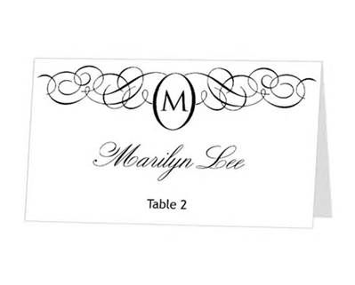 Avery Place Card Template Monogram Design By 43lucy On Etsy Diy