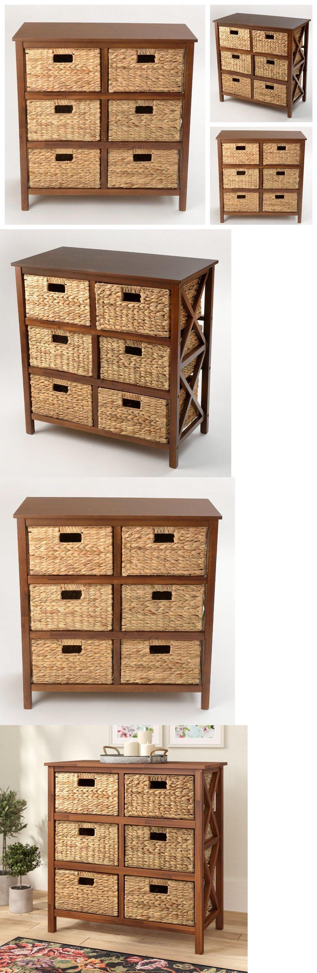Storage Chest Drawers Wood Trunk Accent Cabinet Woven Basket Organizer Dresser