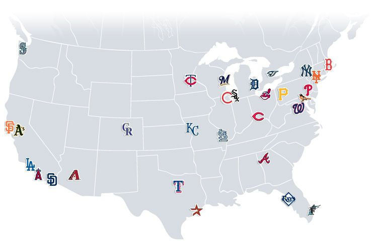Map Of Mlb Stadiums In The Us Pin by Giovanna B on Sports | Baseball stadium, Major league