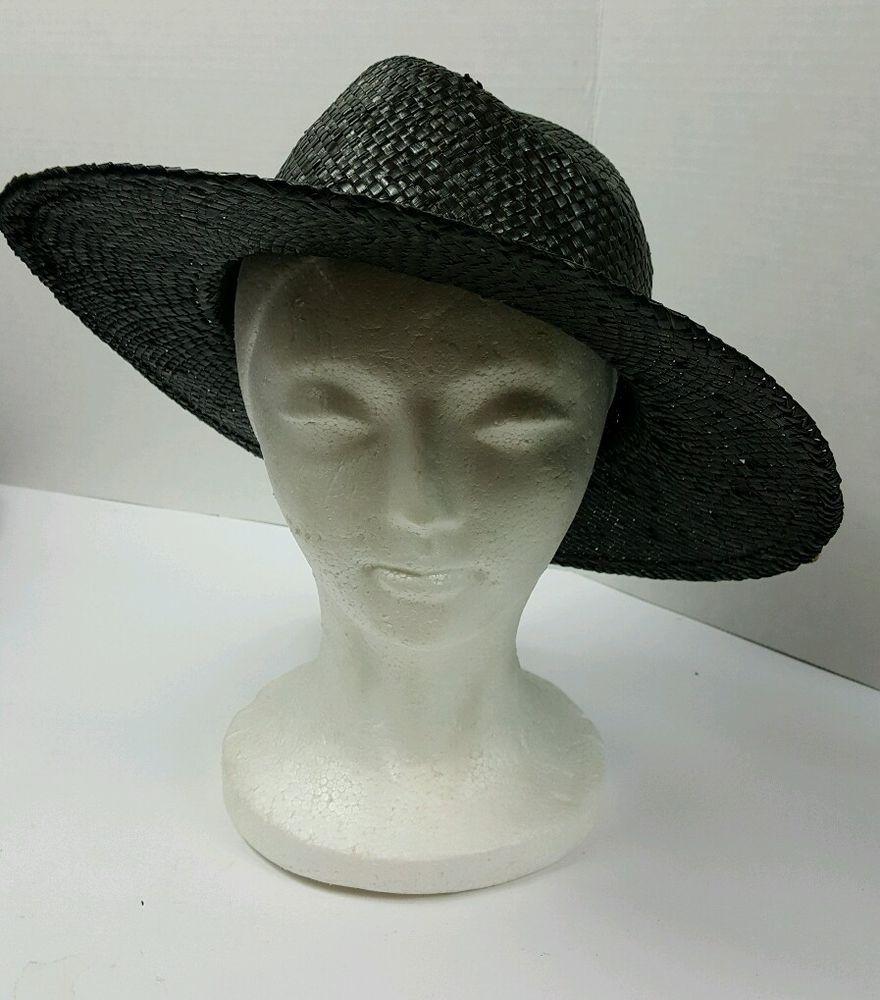 Stylish Black Straw Wide Brim Hat-Black   Gold Trim-Easter!  Unbranded 8146f8b4a14c
