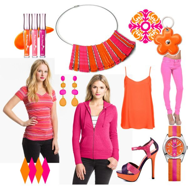 Neon Pink and Orange - Fashion, Jewelry by blukatdesign on Polyvore featuring Caslon, Topshop, Luichiny, Tommy Hilfiger, Kenneth Jay Lane, Etude House, Aspinal of London, Dollhouse, neon and neon jewelry