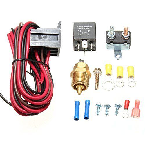 Amazingli 175 To 185 Degree Cooling Fan Thermostat Kit Temp Sensor Temperature Switch 40 Amp Relay Sending Unit Thread Size 3 8 18 Npt Voltage 12 V