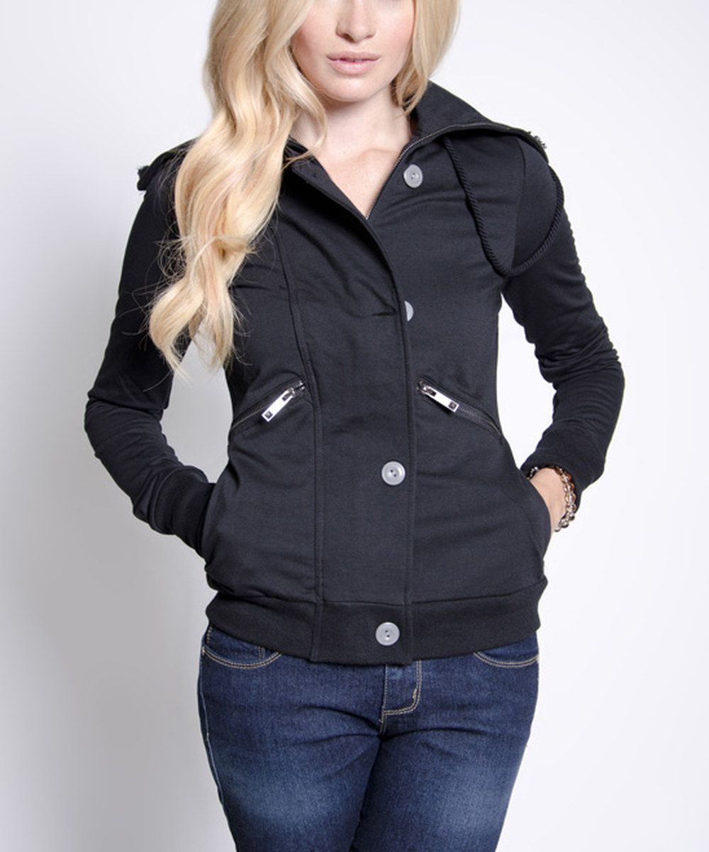 Look at this Black ZipUp Hooded Zara Jacket on zulily