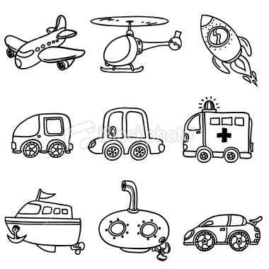 Drawing Of Different Kinds Of Transportation In Black And White