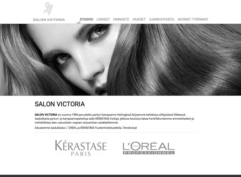Helsinkiläinen parturi-kampaamo Salon Victoria sai uudet kotisivut Kotisivukoneen Avaimet käteen -palvelun avulla.