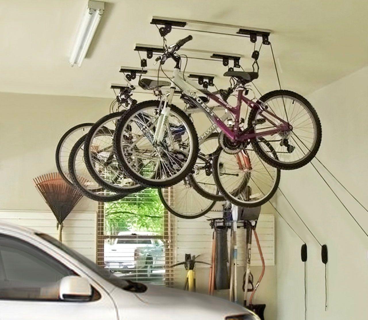 Fixation Pour Velo Garage support lève vélo de plafond + fixations et crochet
