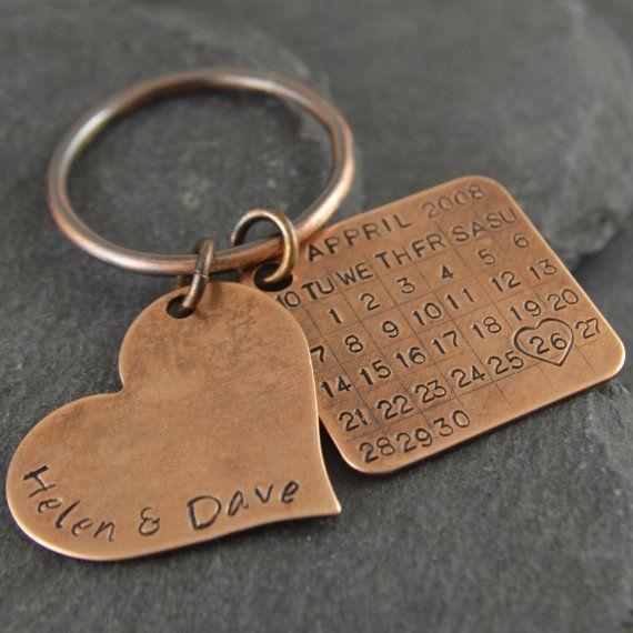 Bronze Anniversary Keychain Bronze Gift 8th Anniversary 19th