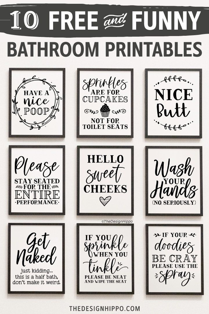 Free Bathroom Decor Printables - Set Of 10 Funny Quotes
