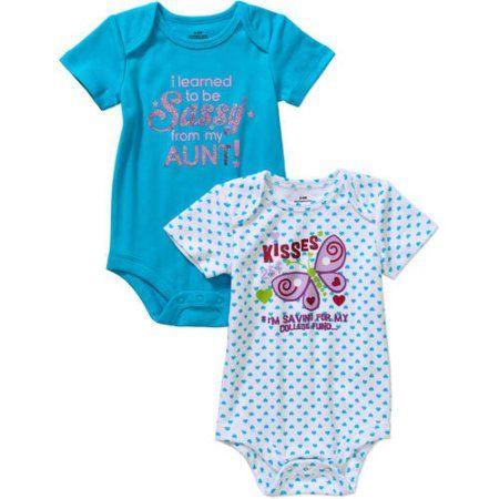 909f9f35e Newborn Baby Girl Attitude Bodysuits - 2 Pack - Walmart.com