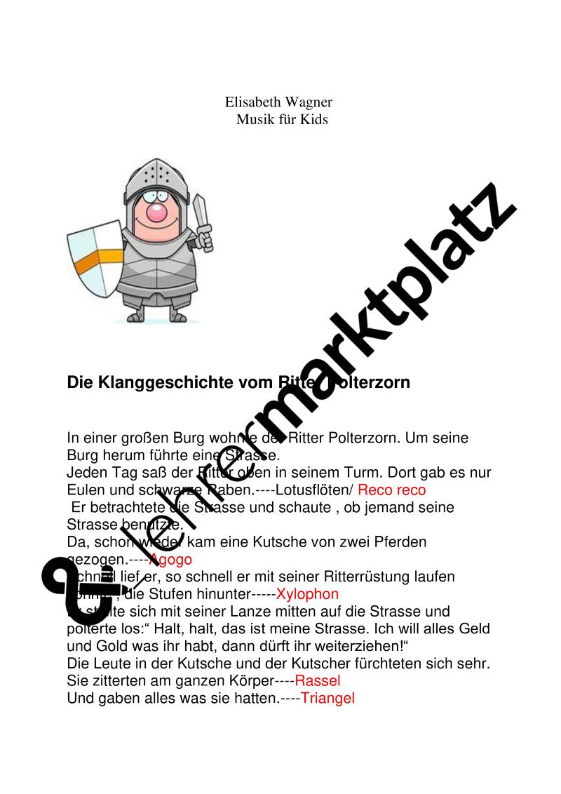 Klanggeschichte!: Der Ritter Polterzorn plus passendem Lied a. d. ...