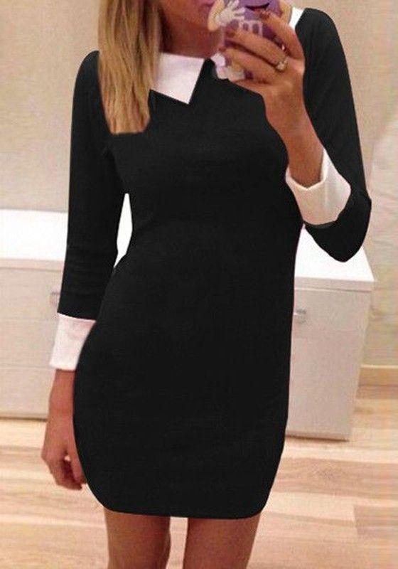 robe habillez uni col rabattu col claudine manches longues manches 3 4 occasionnel l gant noir. Black Bedroom Furniture Sets. Home Design Ideas