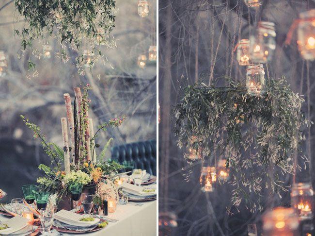 rustic woodland birch centerpiece, hanging jasmine wreath, mason jar hanging lights