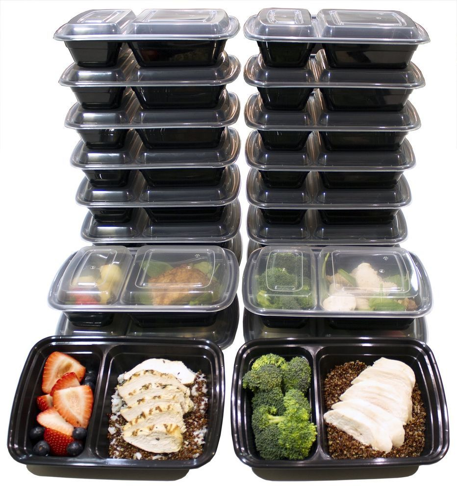 20 Pack Meal Prep Diet Bento Lunch Box BPA Free Microwave