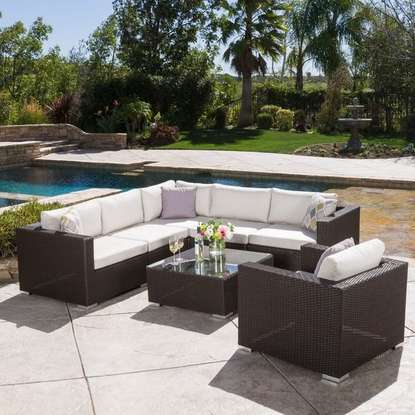 Merveilleux Christopher Knight Home Santa Rosa Outdoor 7 Piece Wicker Seating Sectional  Set With Sunbrella Cushions