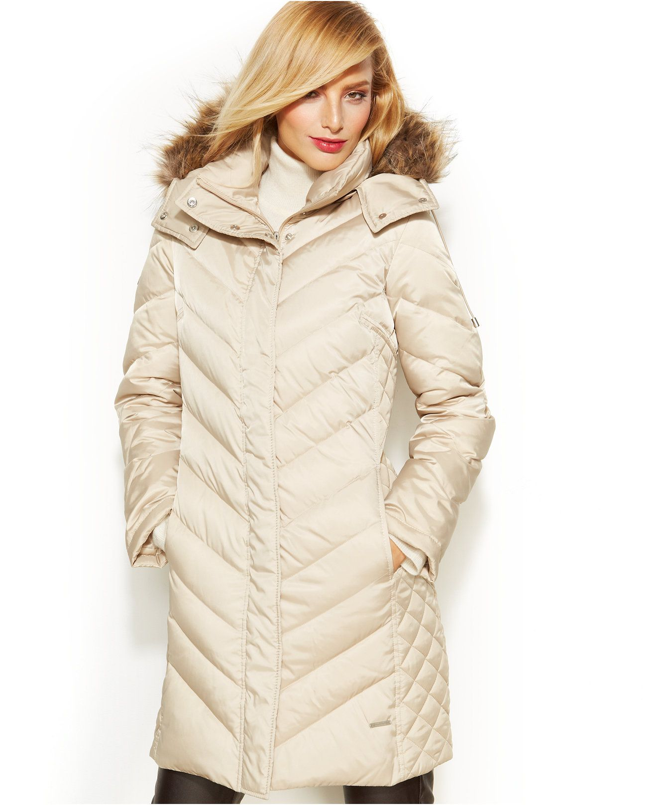 Kenneth Cole Reaction Hooded Faux-Fur-Trim Quilted Down Puffer ...