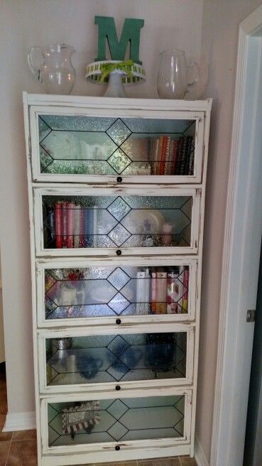 Barrister Bookcase In The Diningroom Painted Off White